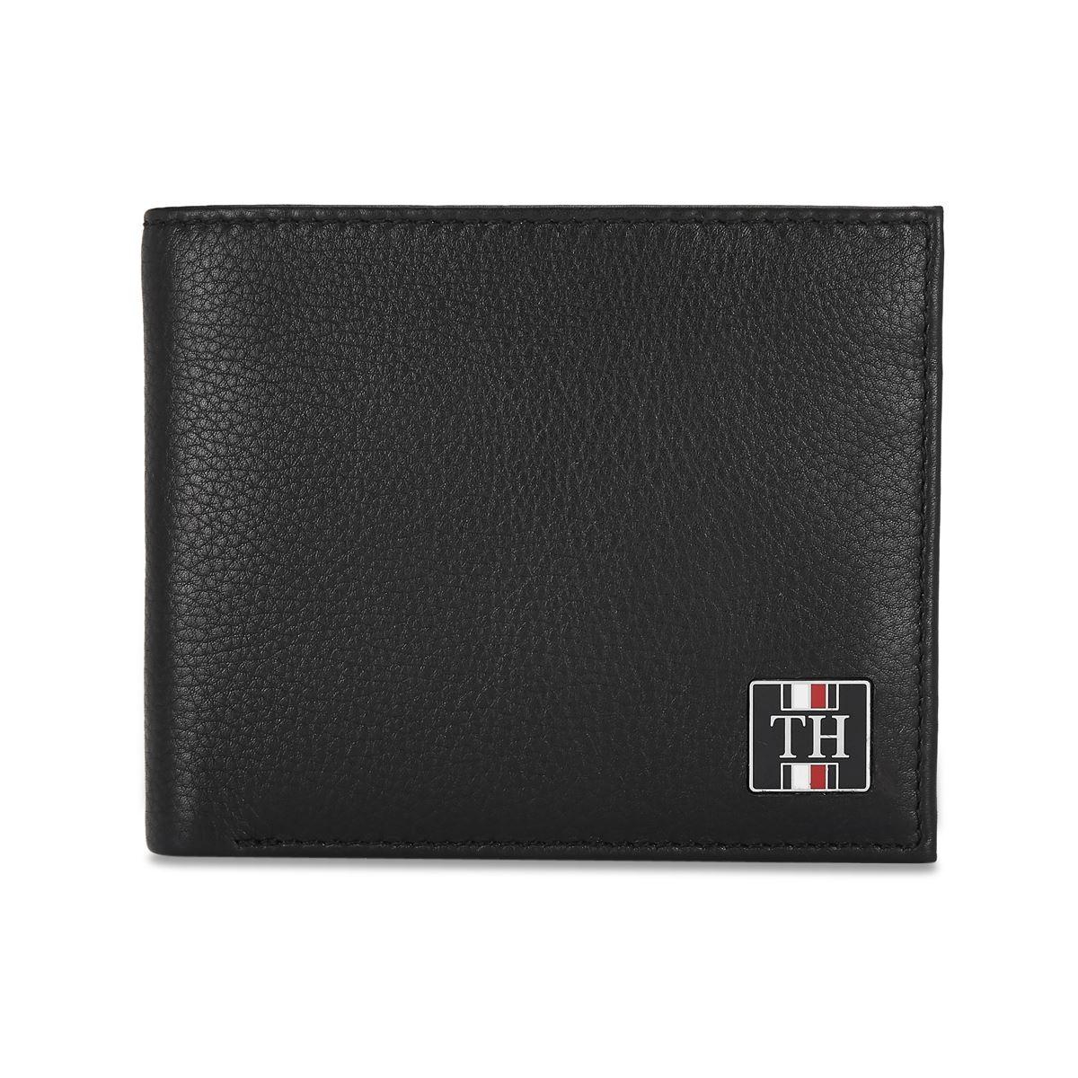 Tommy Hilfiger Leather Mens Textured Black Utah Global Coin Wallet