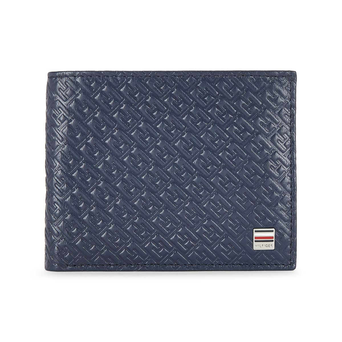 Tommy Hilfiger Leather Mens Solid Navy/Wine Clipper Global Coin Wallet