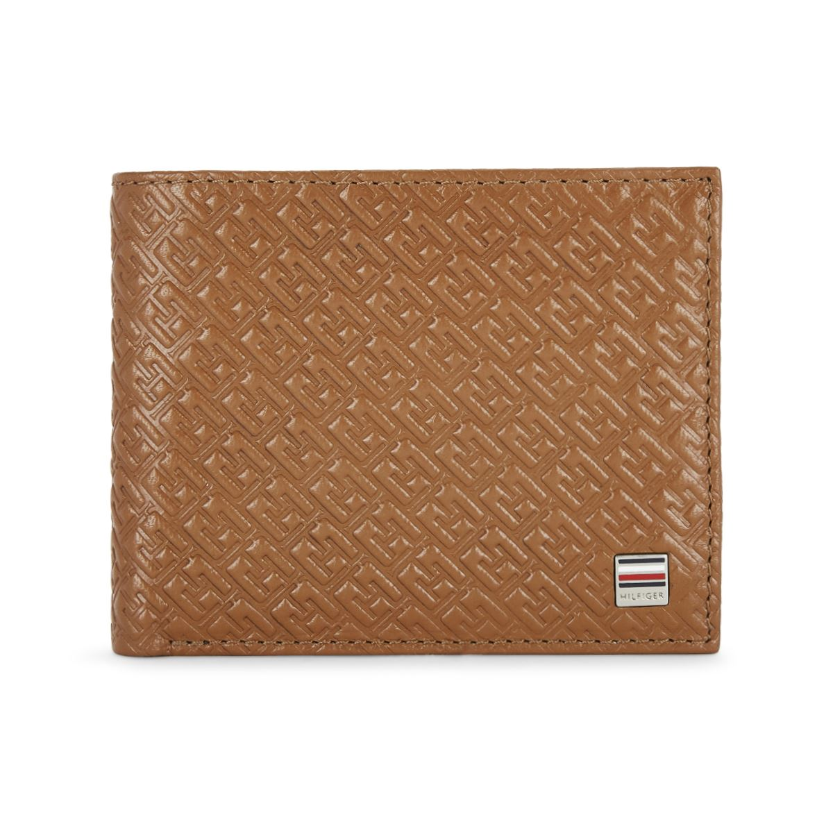 Tommy Hilfiger Leather Mens Solid Tan/Navy Clipper Global Coin Wallet