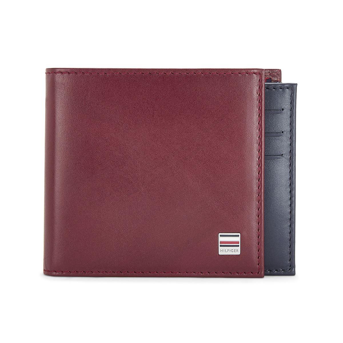 Tommy Hilfiger Leather Mens Solid Wine/Navy Insider Slimfold Wallet