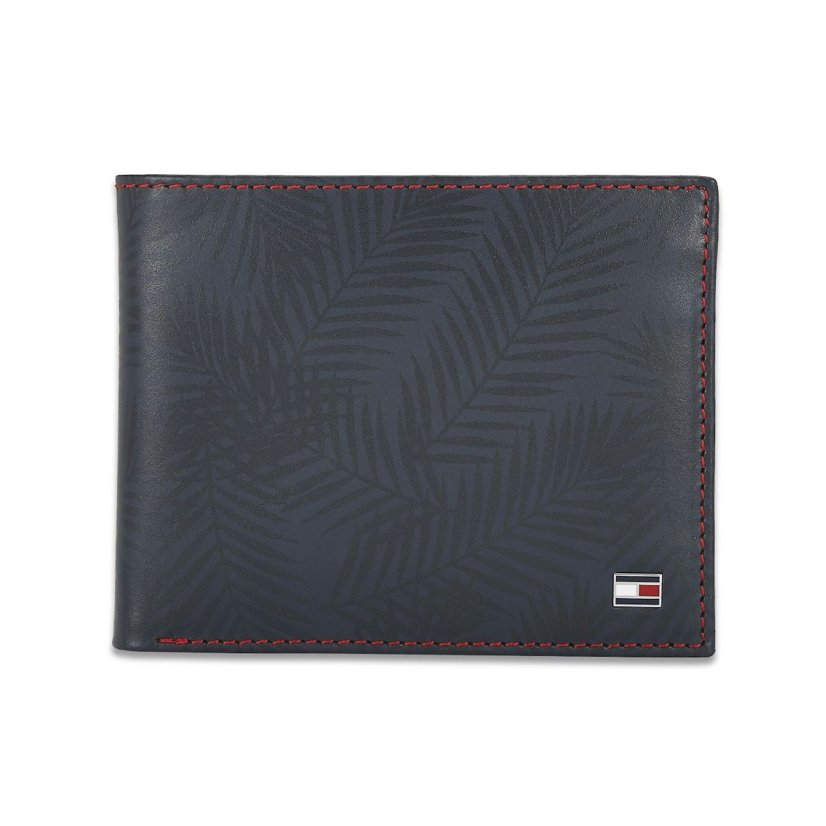 Tommy Hilfiger Leather Mens Printed Navy Lotus Passcase Wallet