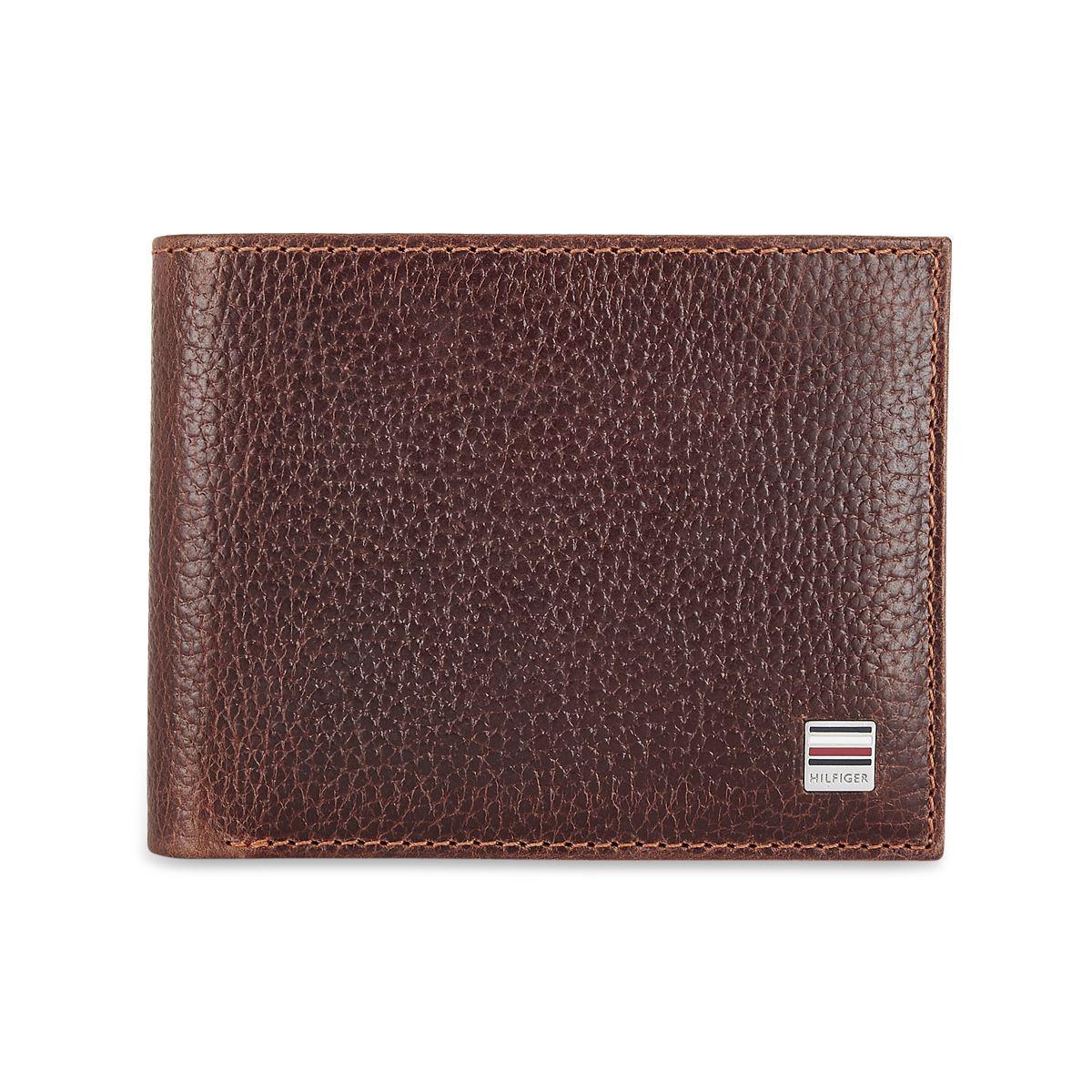 Tommy Hilfiger Leather Mens Textured Brown Flynn Slimfold Wallet