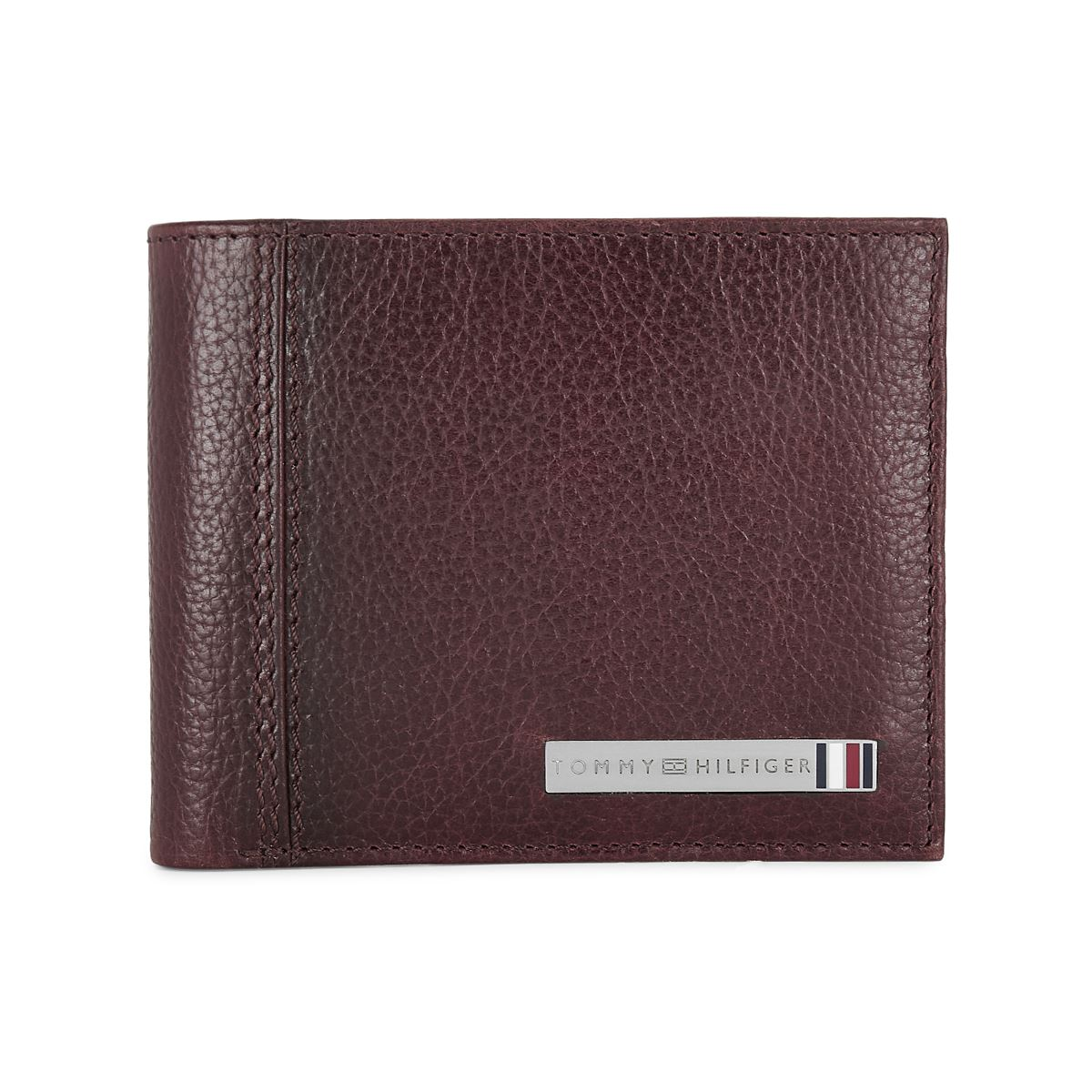 Tommy Hilfiger Leather Mens Textured Wine Tropical Global Coin Wallet
