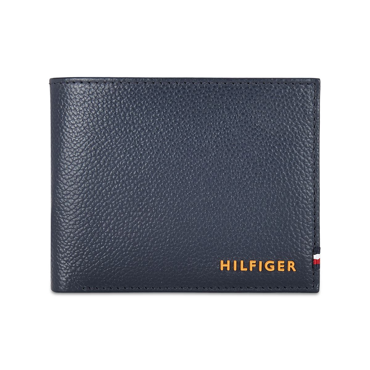 Tommy Hilfiger Leather Mens Textured Navy Scenery Global Coin Wallet