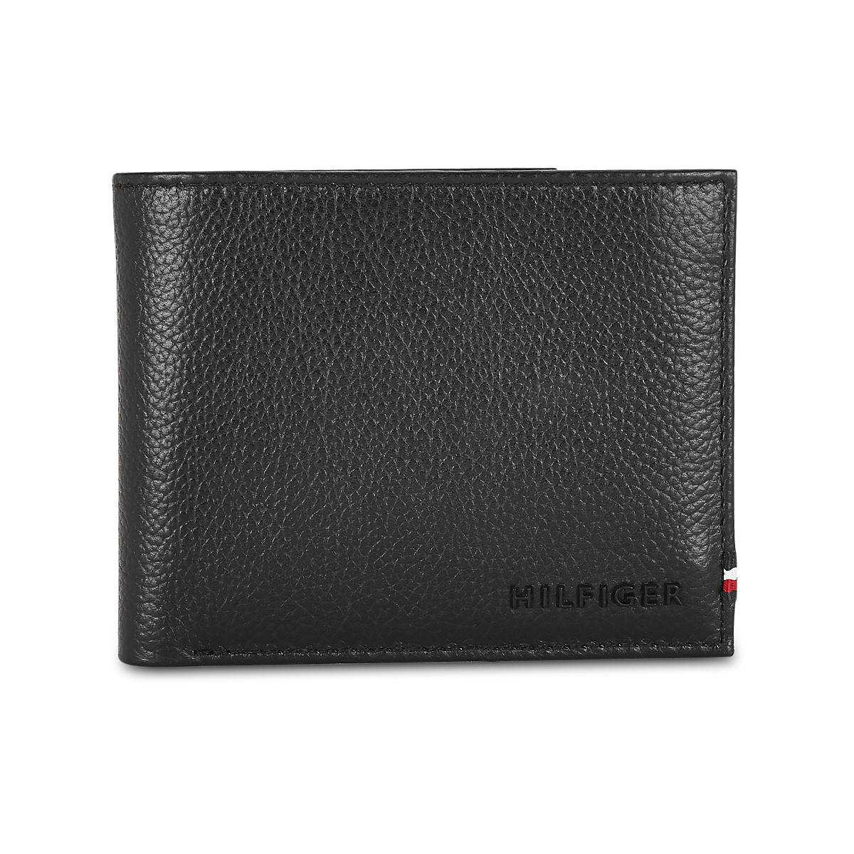 Tommy Hilfiger Leather Mens Textured Black Scenery Global Coin Wallet