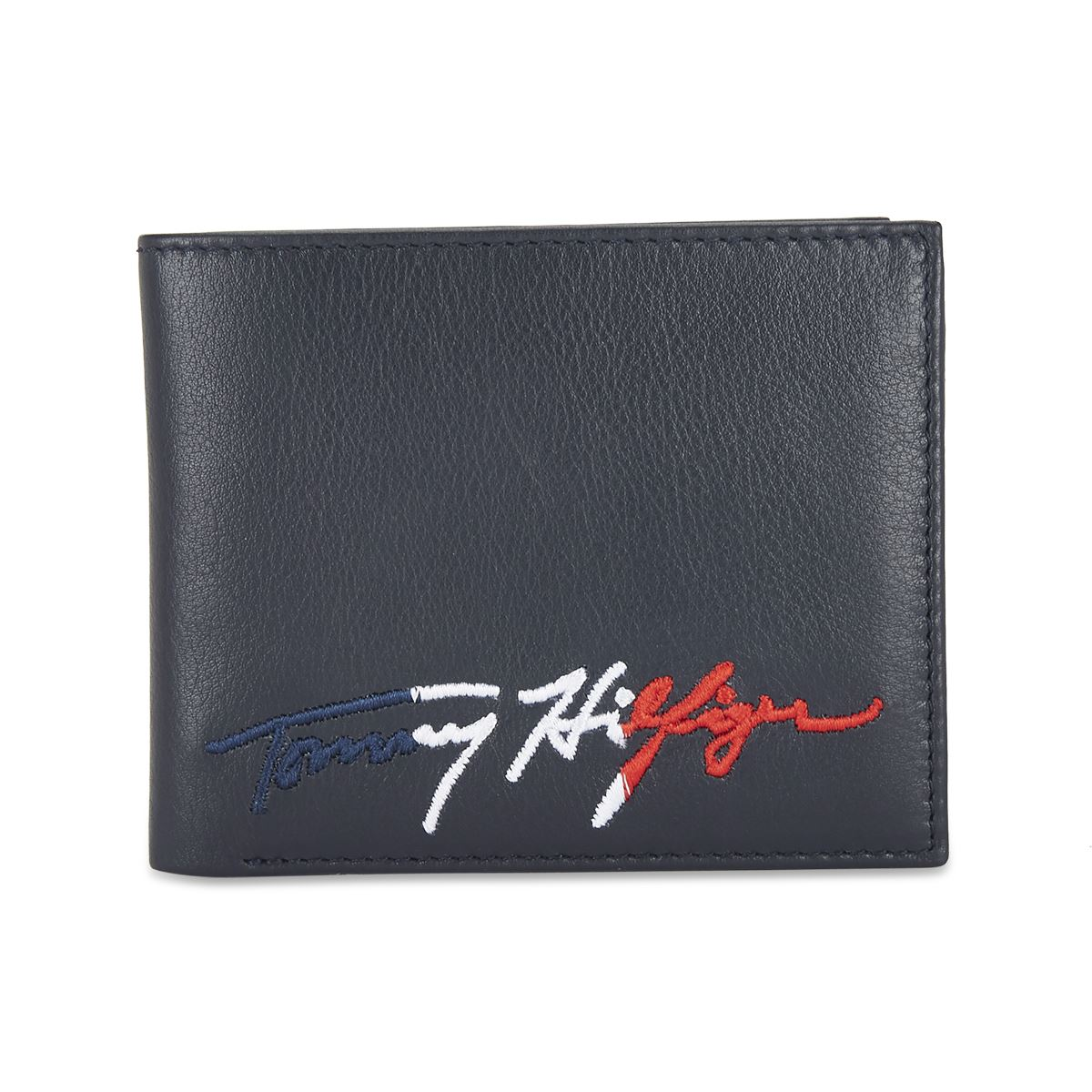 Tommy Hilfiger Leather Mens Printed Navy Persian Global Coin Wallet