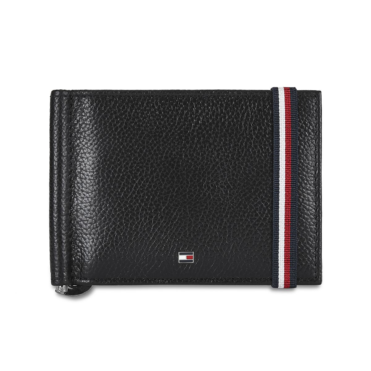 Tommy Hilfiger Leather Mens Textured Brown/Navy Milled Club Moneyclip Wallet