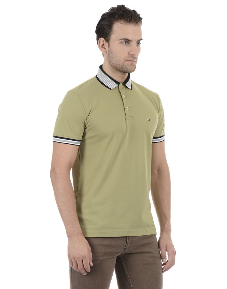 Tommy Hilfiger Men Casual Wear Green T-Shirt
