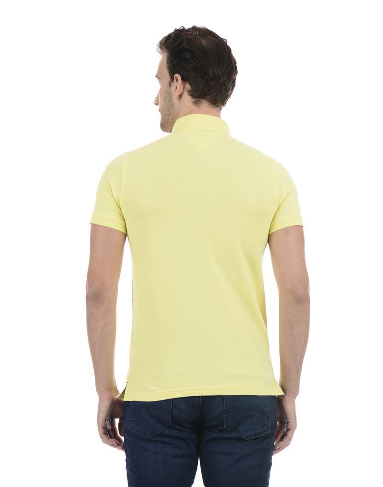 Tommy Hilfiger Men Casual Wear Yellow T-Shirt