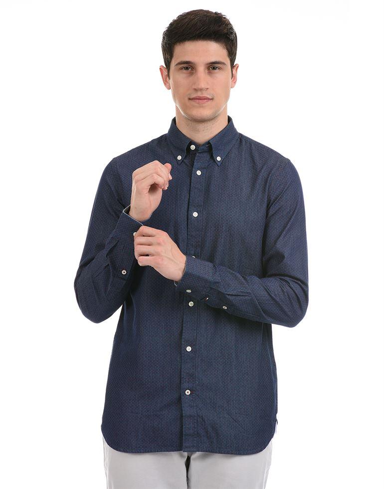 Tommy Hilfiger Men Casual Wear Navy Shirt