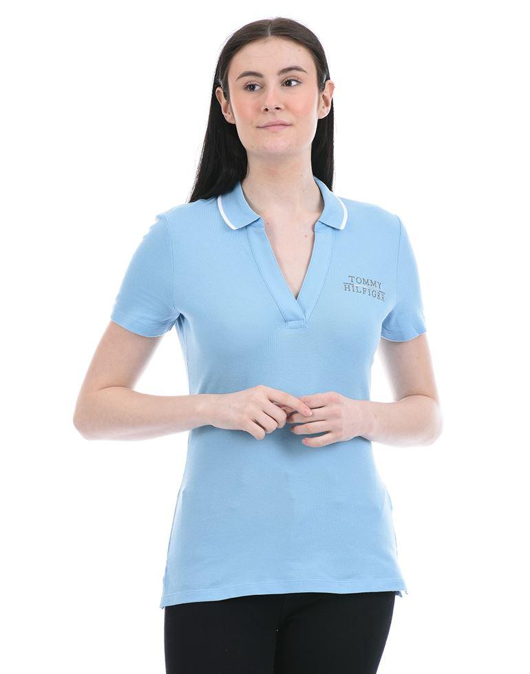 Tommy Hilfiger Women Casual Wear Sky Blue T-Shirt