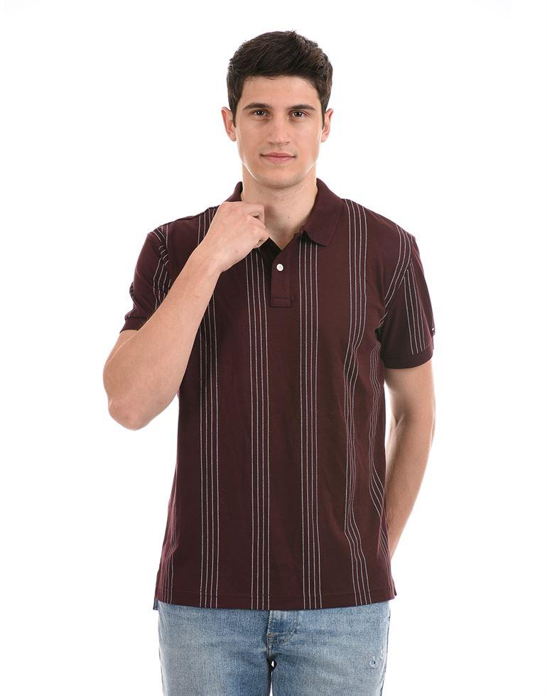 Tommy Hilfiger Men Casual Wear Burgundy T-Shirt