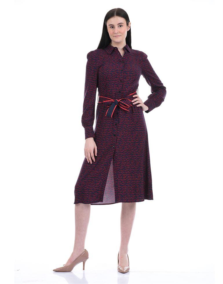 Tommy Hilfiger Women Casual Wear Navy Blue A-Line Dress with belt