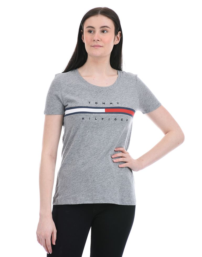 Tommy Hilfiger Women Casual Wear Grey T-Shirt