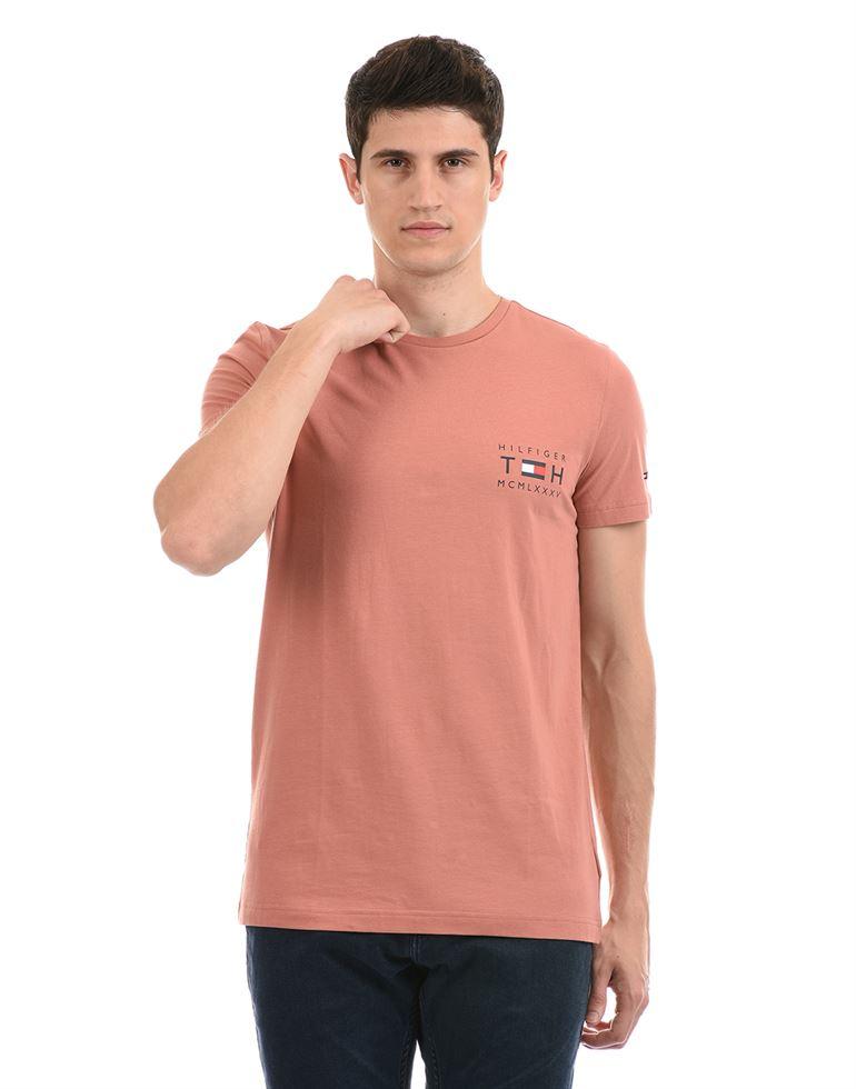 Tommy Hilfiger Men Casual Wear Pink T-Shirt