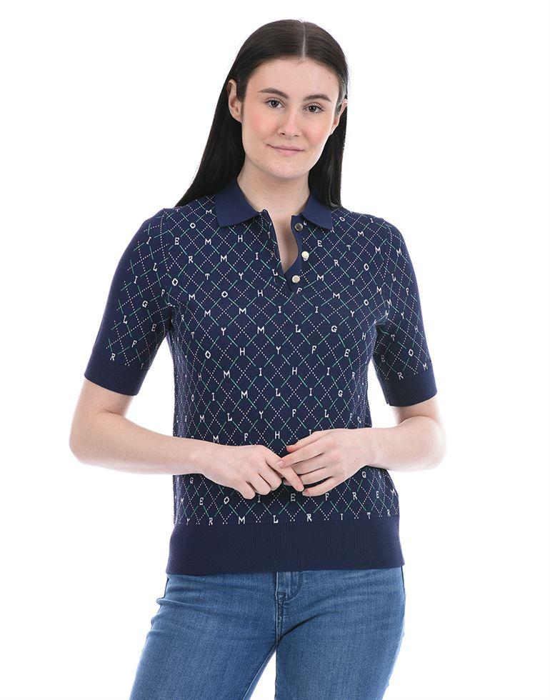 Tommy Hilfiger Women Casual Wear Blue T-Shirt