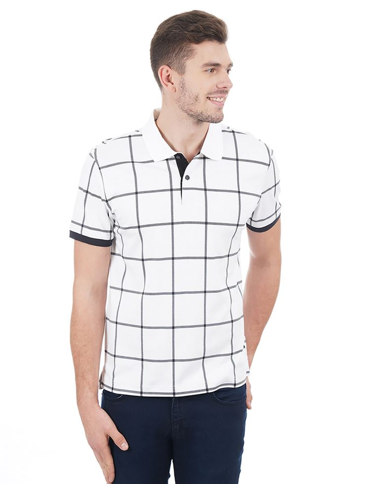 Tommy Hilfiger Men Casual Wear Checkered Polo T-Shirt