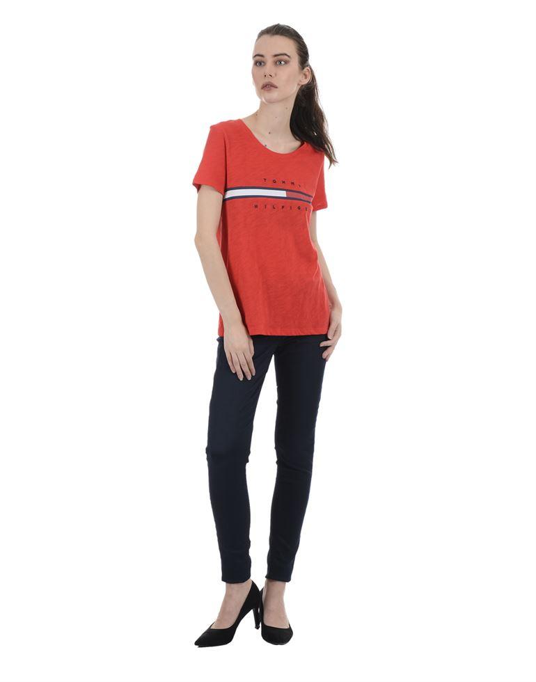 Tommy Hilfiger Women Casual Wear Red T-Shirt