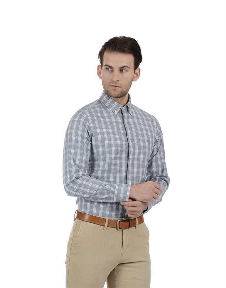 Tommy Hilfiger Men Formal Wear Grey Shirt