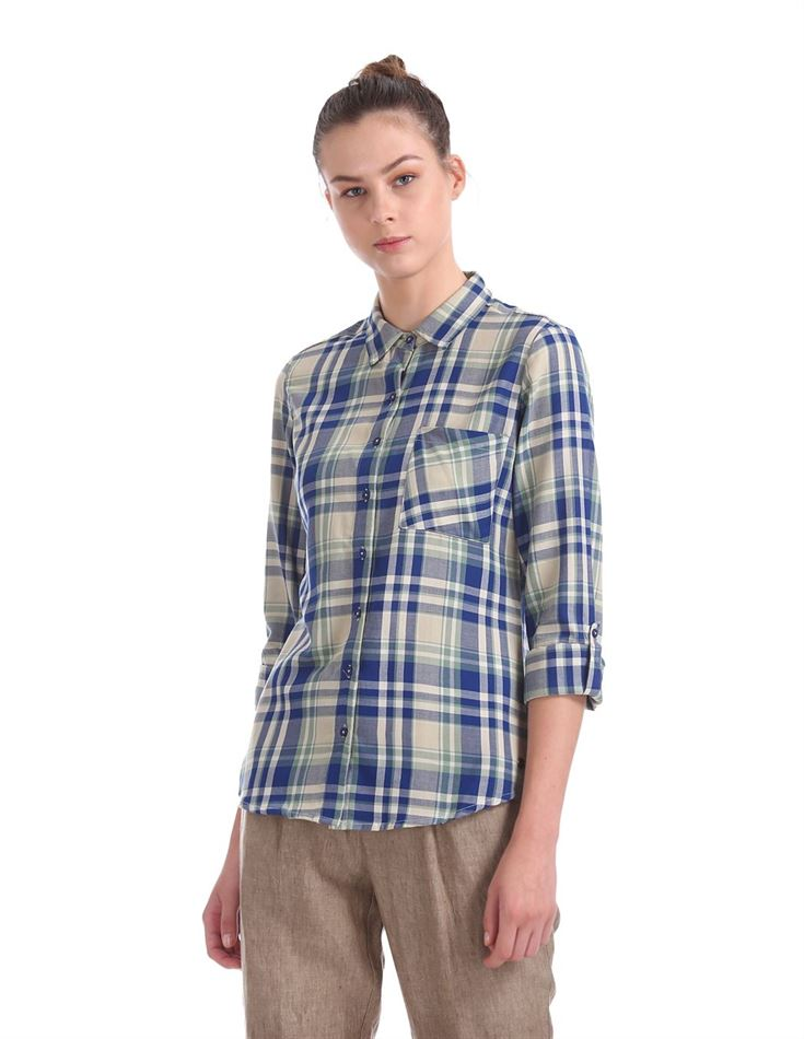 U.S. Polo Assn. Women Casual Wear Checkered Shirt