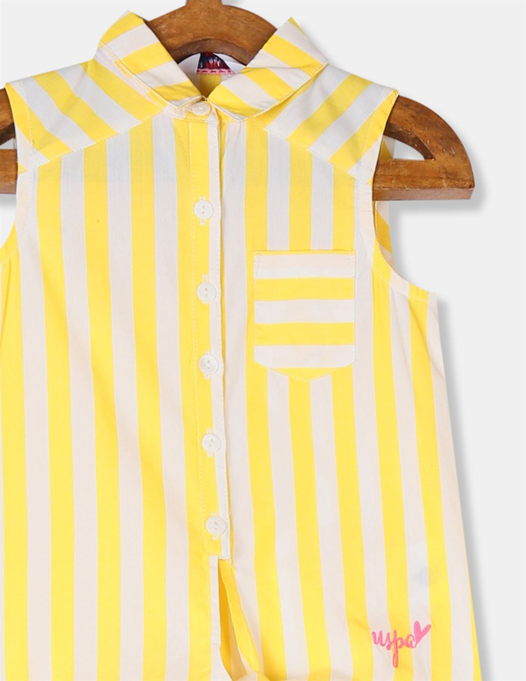 U.S. Polo Assn. Girls Striped Yellow Shirt