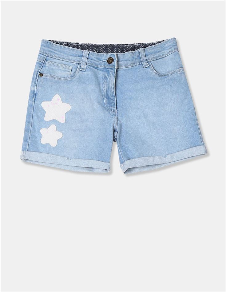 U.S Polo Assn. Girls Applique Blue Shorts