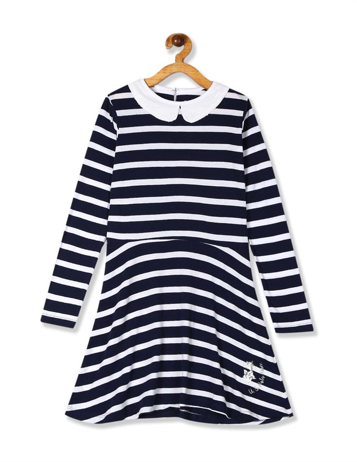 U.S. Polo Assn. Girls Casual Wear Striped Dress