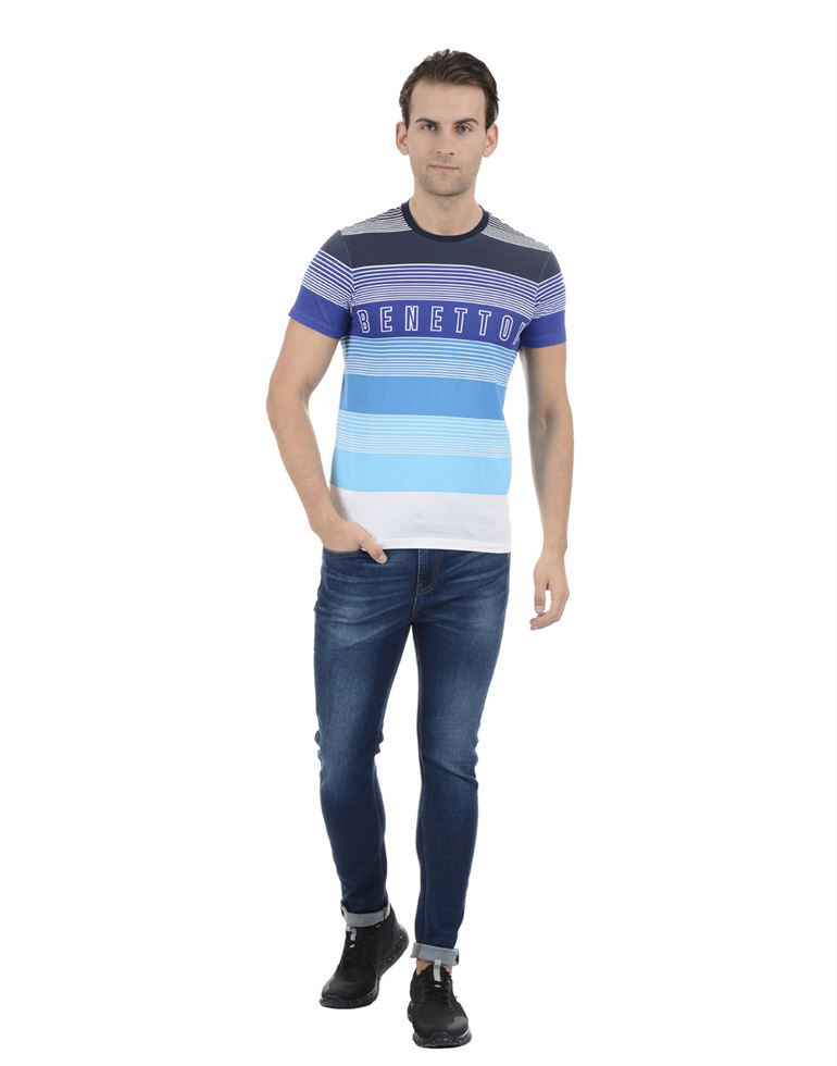 United Colors of Benetton Men Casual Wear Striped Multicolor T-Shirt