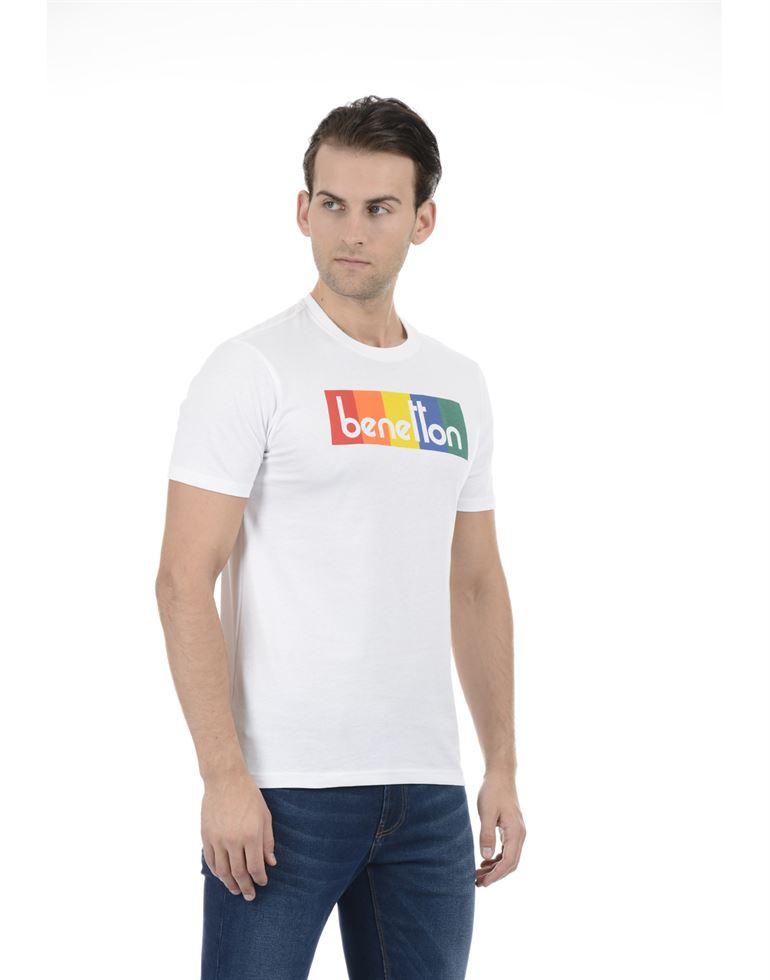 United Colors of Benetton Men Casual Wear Graphic Print White T-Shirt