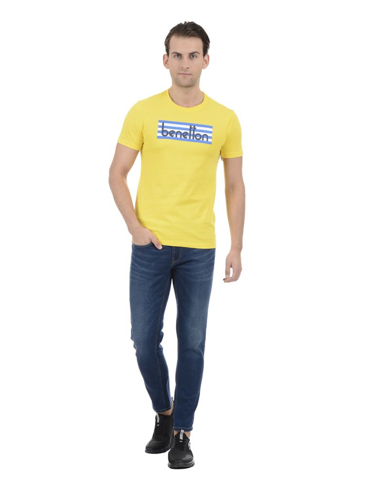 United Colors of Benetton Men Casual Wear Graphic Print Yellow T-Shirt