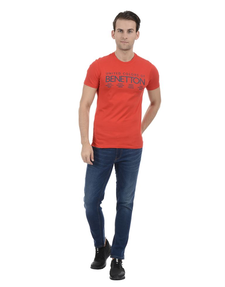 United Colors of Benetton Men Casual Wear Graphic Print Red T-Shirt