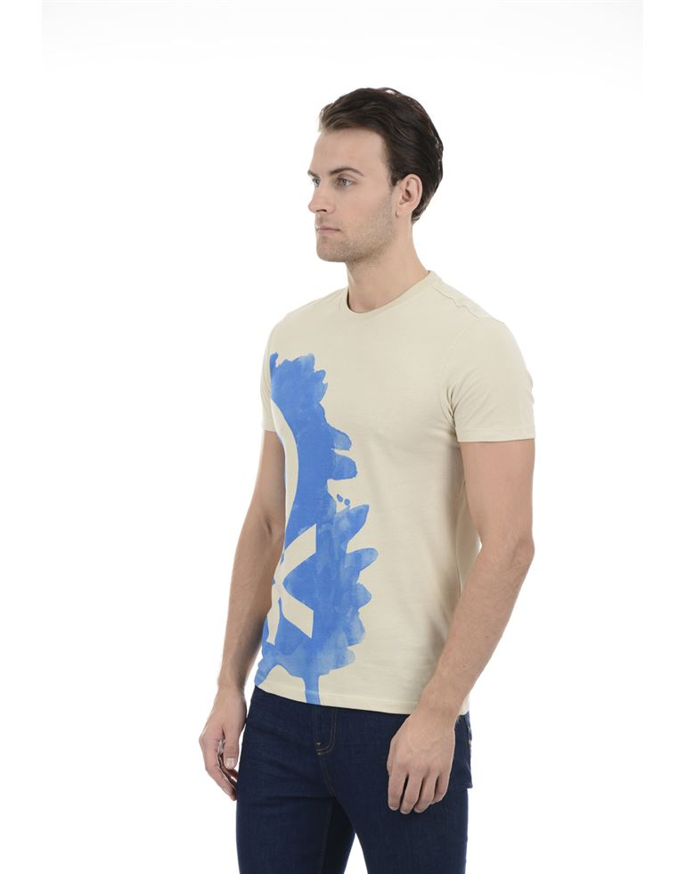 United Colors of Benetton Men Casual Wear Printed Beige T-Shirt