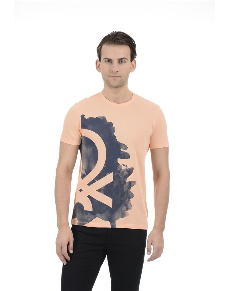 United Colors of Benetton Men Casual Wear Printed Peach T-Shirt