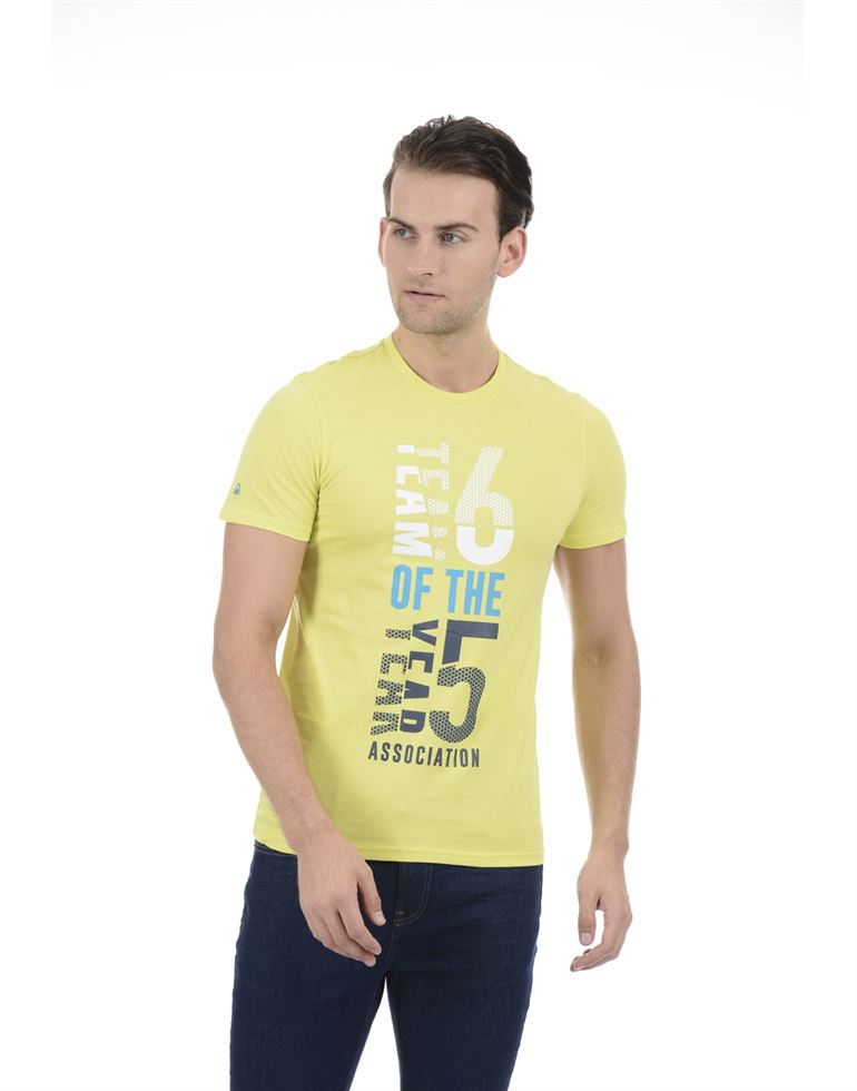 United Colors of Benetton Men Casual Wear Graphic Print Light Green T-Shirt