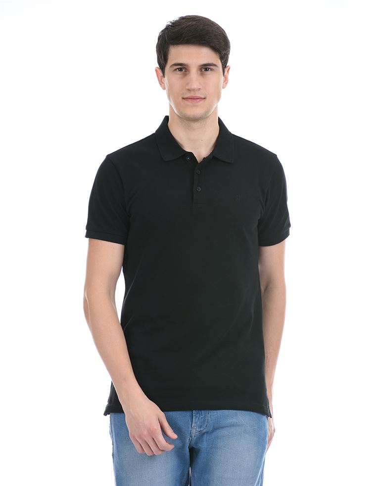 United Colors of Benetton Men Casual Wear Black Polo T-Shirt