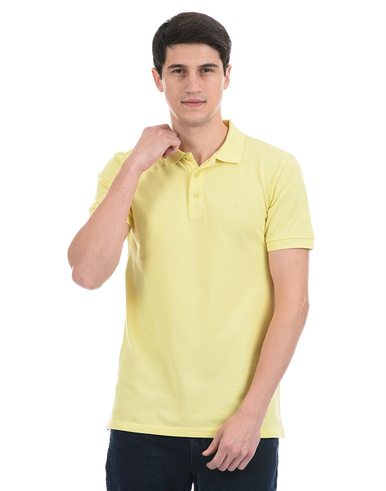 United Colors of Benetton Men Casual Wear Yellow Polo T-Shirt