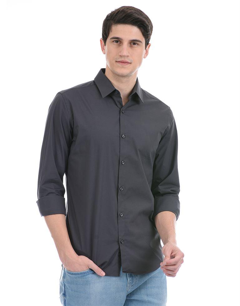 United Colors of Benetton Men Casual Wear Dark Grey Shirt