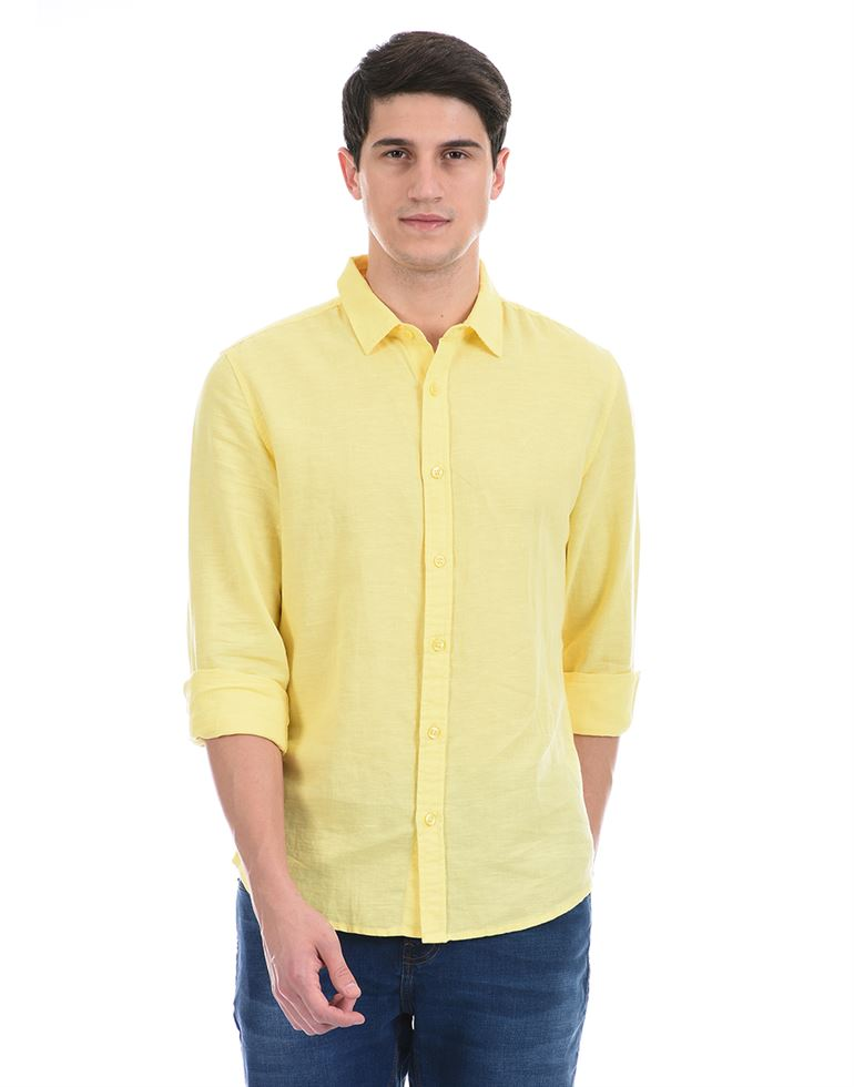 United Colors of Benetton Men Casual Wear Yellow Shirt