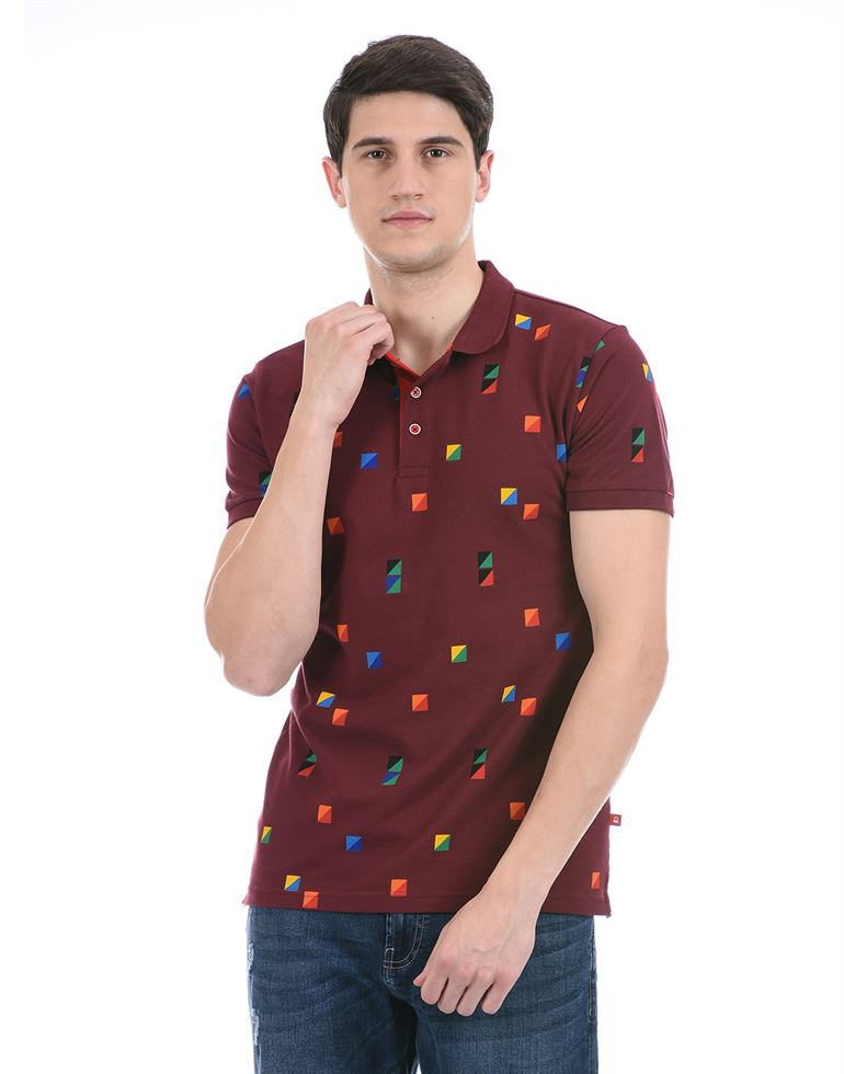 United Colors of Benetton Men Casual Wear Maroon Polo T-Shirt