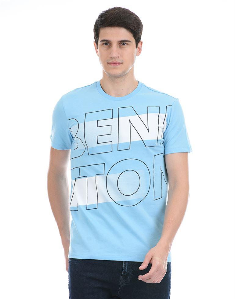 United Colors of Benetton Men Casual Wear Blue T-Shirt