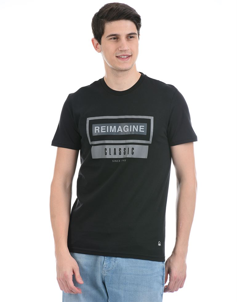 United Colors of Benetton Men Casual Wear Black T-Shirt