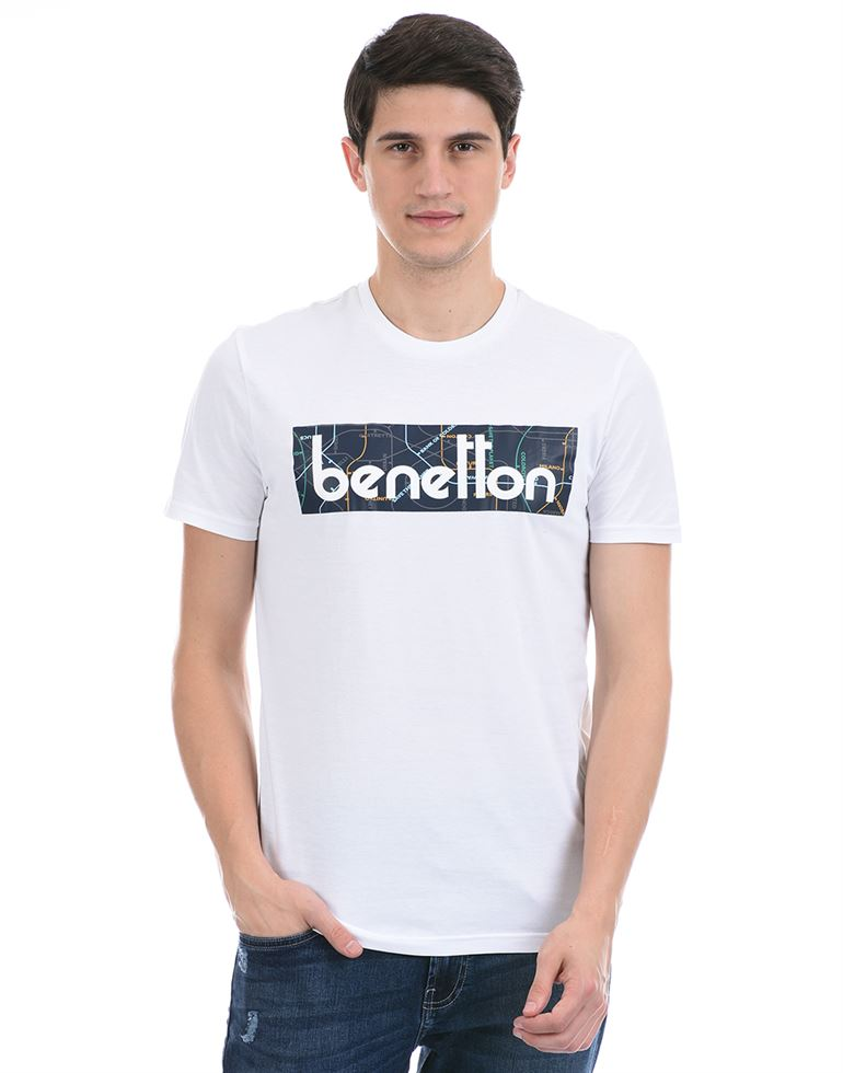 United Colors of Benetton Men Casual Wear White T-Shirt
