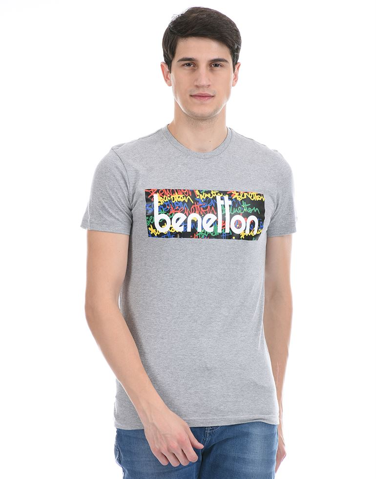 United Colors of Benetton Men Casual Wear Grey T-Shirt