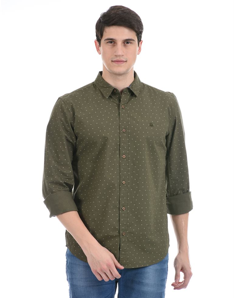 United Colors of Benetton Men Casual Wear Olive Shirt