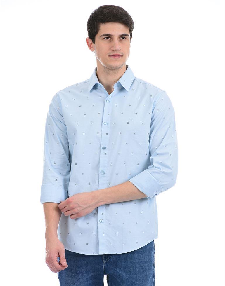 United Colors of Benetton Men Casual Wear Blue Shirt