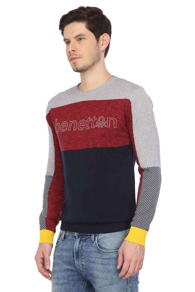 United Colors of Benetton Men Casual Wear Color Block Sweater