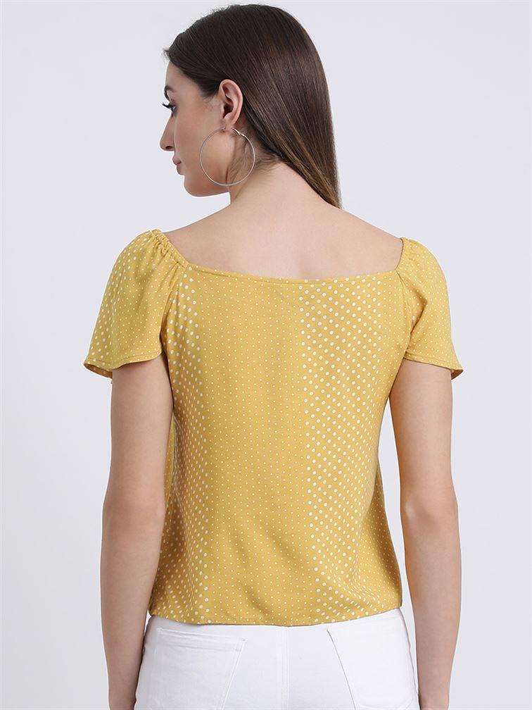 Zink London Women's Yellow Printed Blouson Top