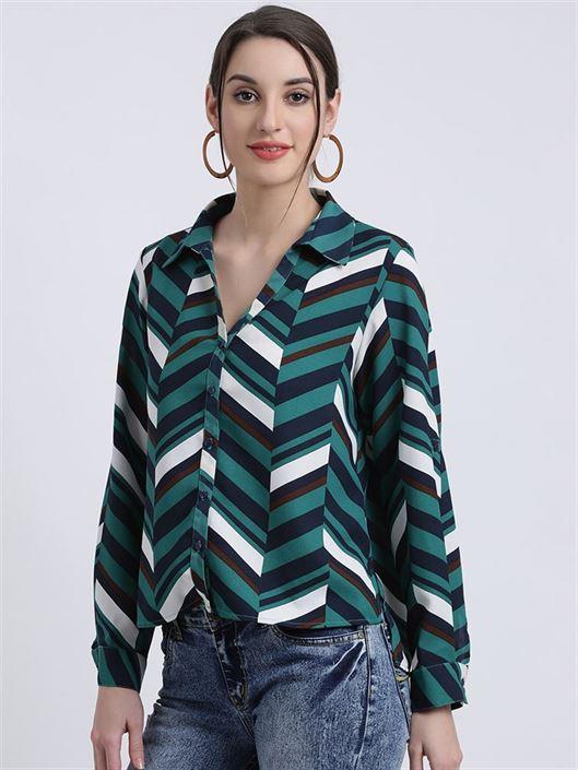 Zink London Women's Green Striped Shirt Style Top