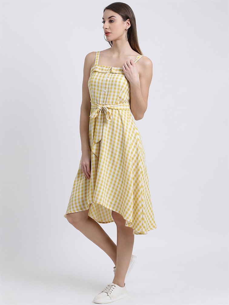 Zink London Women's Yellow Checked Fit and Flare Dress