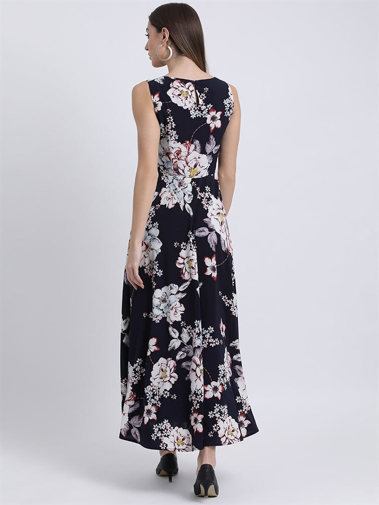 Zink London Women's Blue Printed Maxi Dress